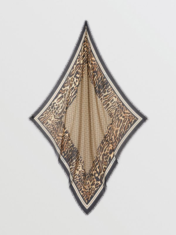 Monogram Print Wool Silk Large Square Scarf in Archive Beige | Burberry United States - cell image 3