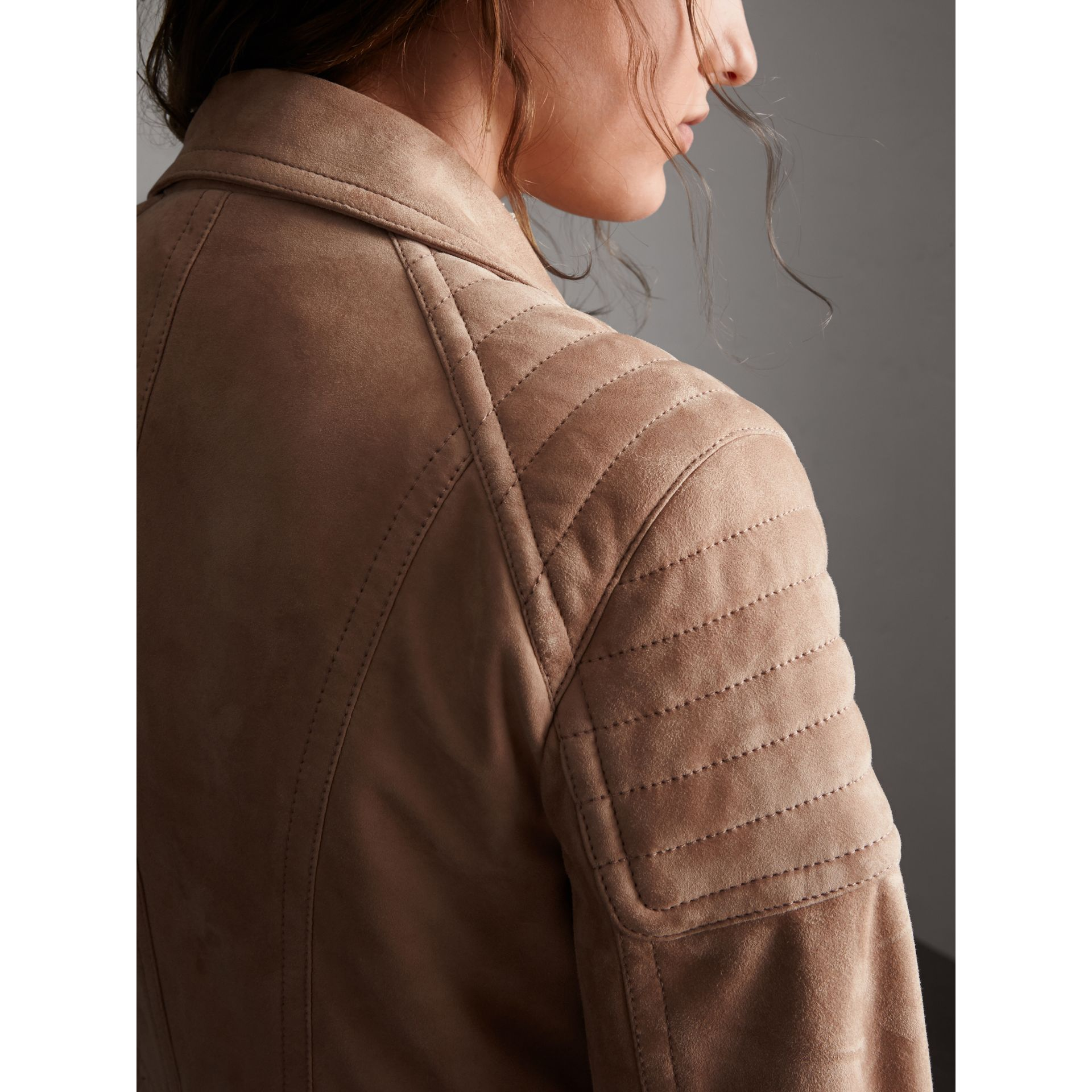 Ribbed Panel Suede Biker Jacket in Pale Antique Rose - Women | Burberry - gallery image 2