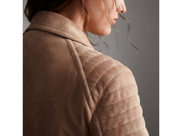 Ribbed Panel Suede Biker Jacket in Pale Antique Rose - Women | Burberry - cell image 1