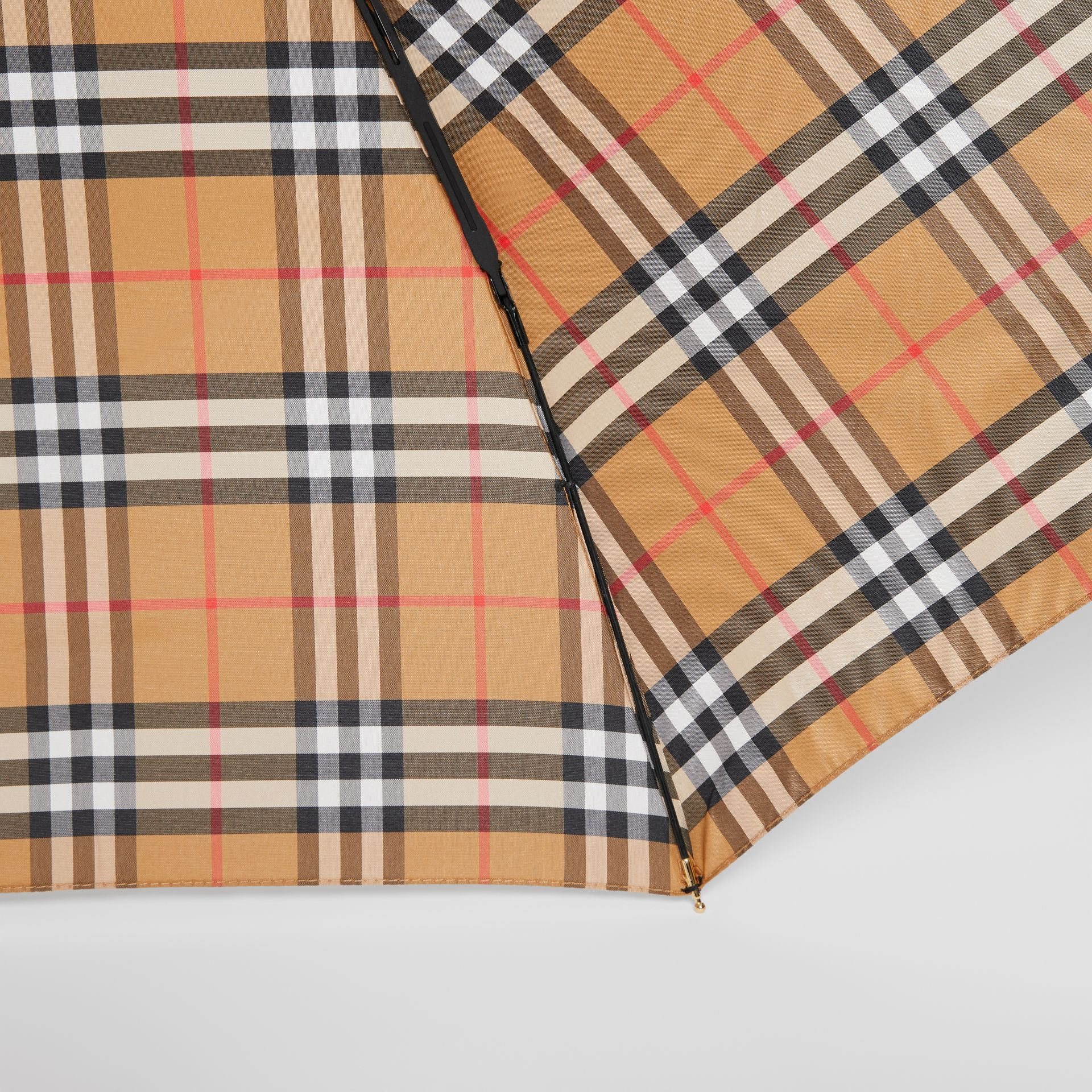 Vintage Check Folding Umbrella in Antique Yellow | Burberry United States - gallery image 1