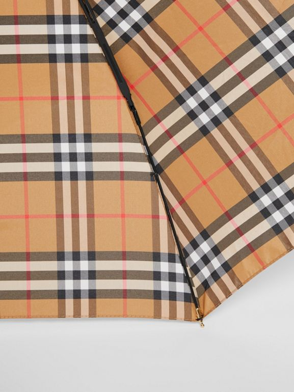 Vintage Check Folding Umbrella in Antique Yellow | Burberry United States - cell image 1