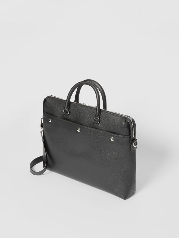Triple Stud Grainy Leather Briefcase in Black - Men | Burberry Singapore - cell image 3