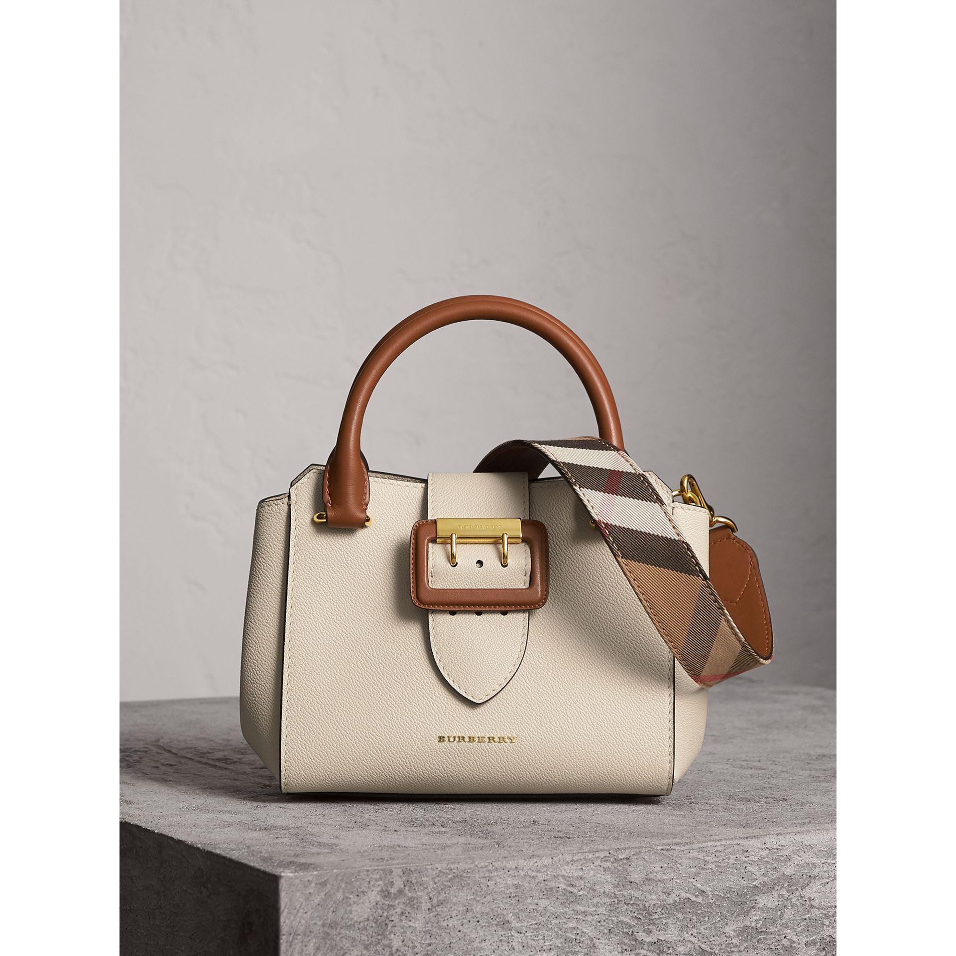 The Small Buckle Tote in Two-tone Leather in Limestone - Women | Burberry - gallery image 1