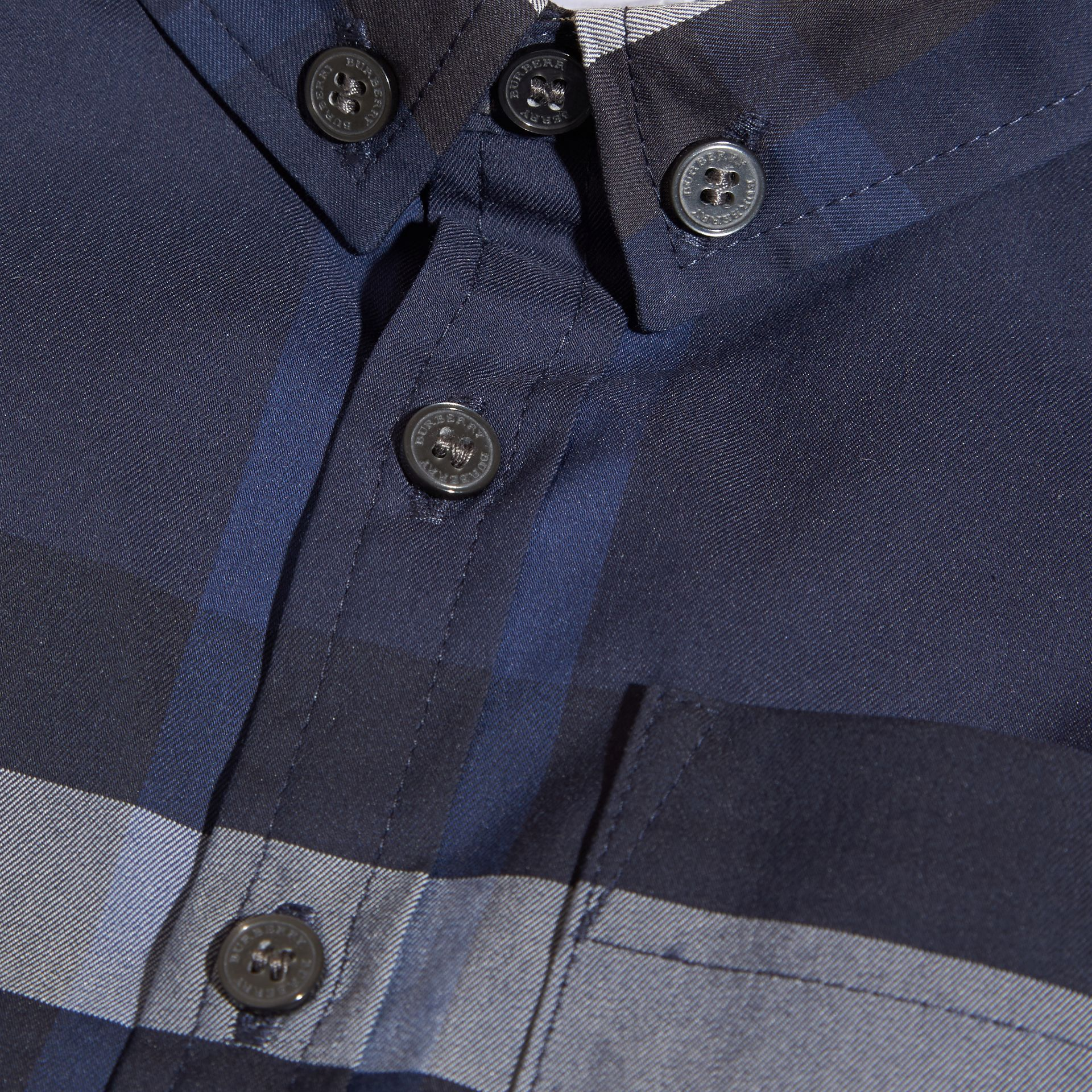 Indigo blue Check Button-Down Cotton Shirt Indigo Blue - gallery image 2