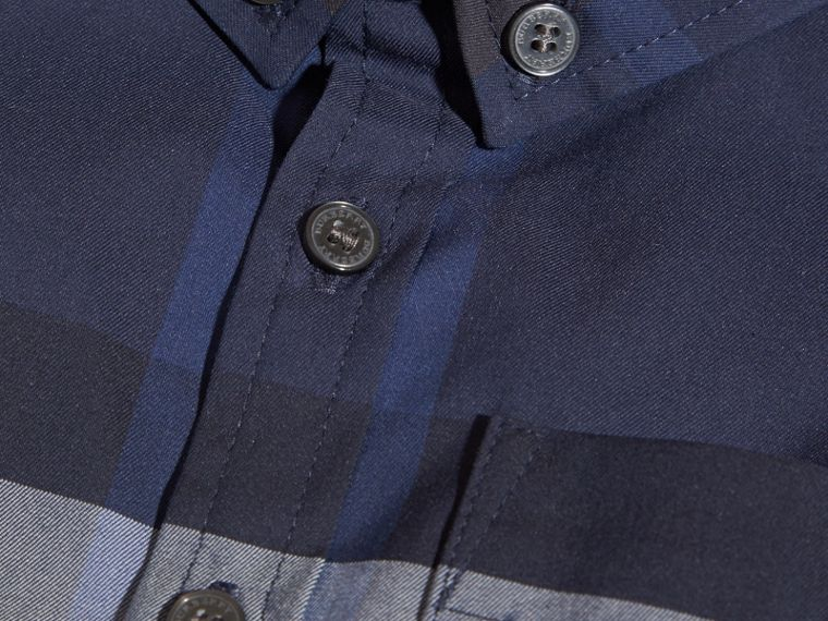 Indigo blue Check Button-Down Cotton Shirt Indigo Blue - cell image 1
