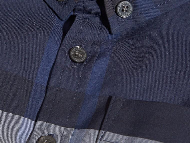 Bleu indigo Chemise boutonnée en coton à motif check Bleu Indigo - cell image 1