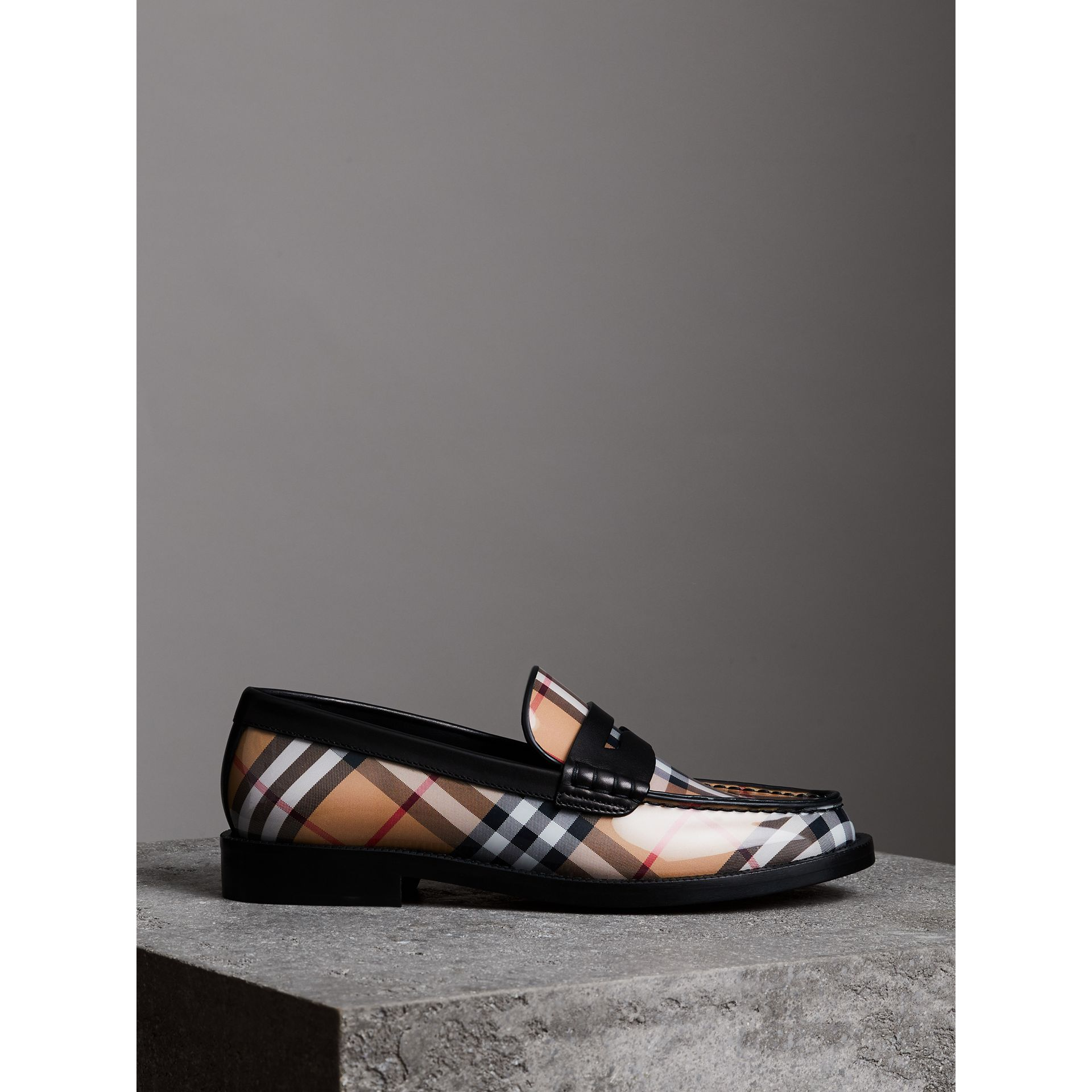 Vintage Check and Leather Penny Loafers in Antique Yellow - Women | Burberry - gallery image 3