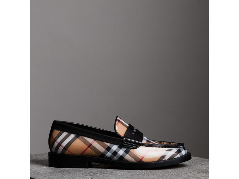 Vintage Check and Leather Penny Loafers in Antique Yellow - Women | Burberry - cell image 4