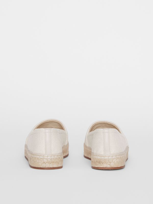 Monogram Motif Cotton and Leather Espadrilles in Ecru/black | Burberry - cell image 3