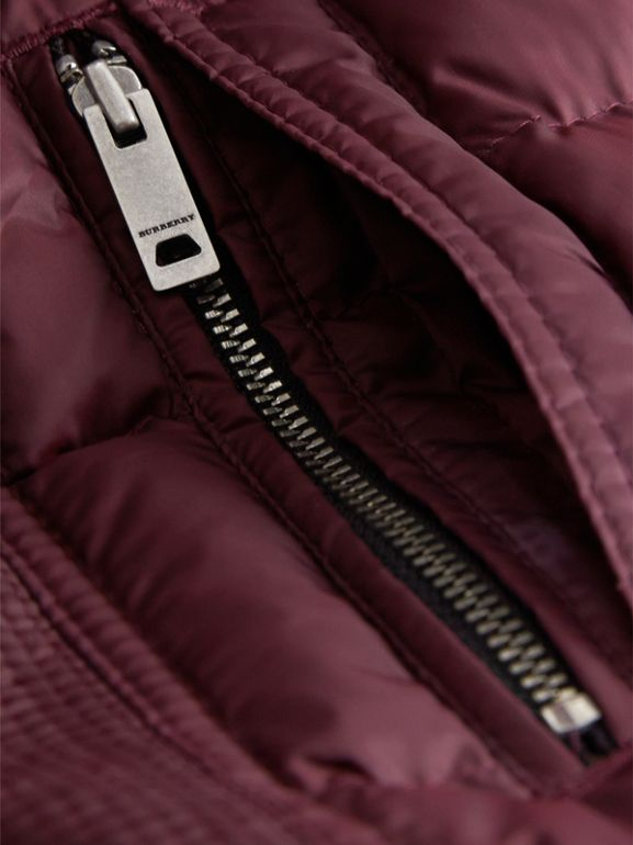 Detachable Hood Down-filled Coat in Dark Plum | Burberry - cell image 1