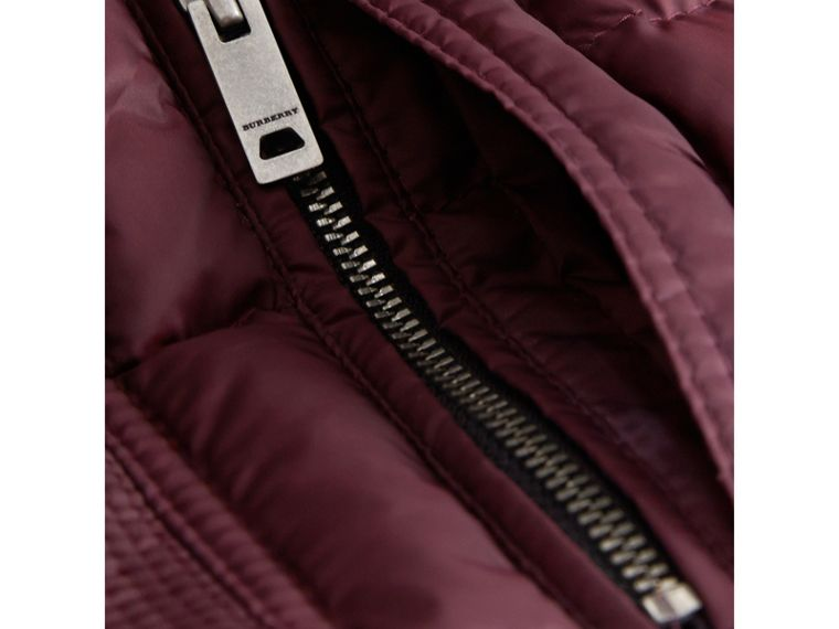 Detachable Hood Down-filled Coat in Dark Plum - Girl | Burberry - cell image 1