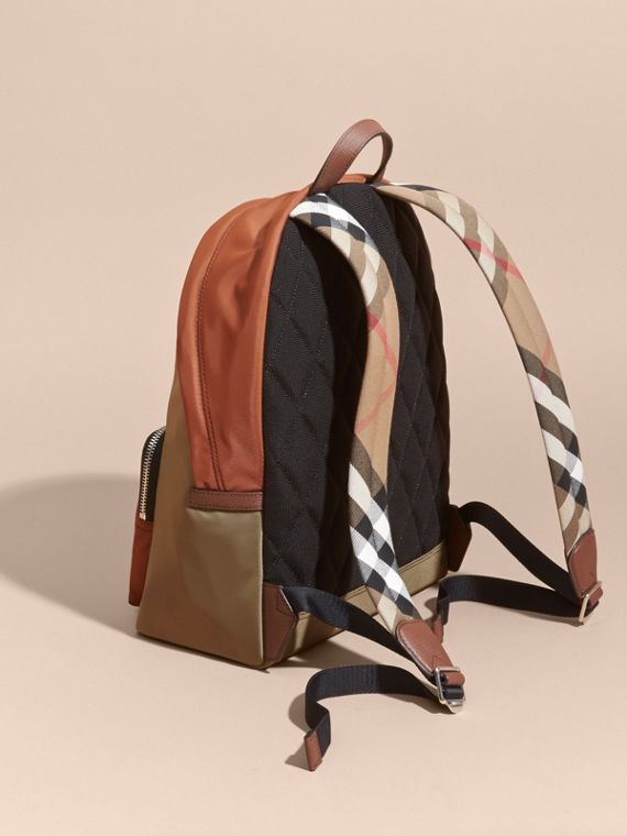 Leather and House Check Trim Technical Backpack Deep Taupe Brown - cell image 3