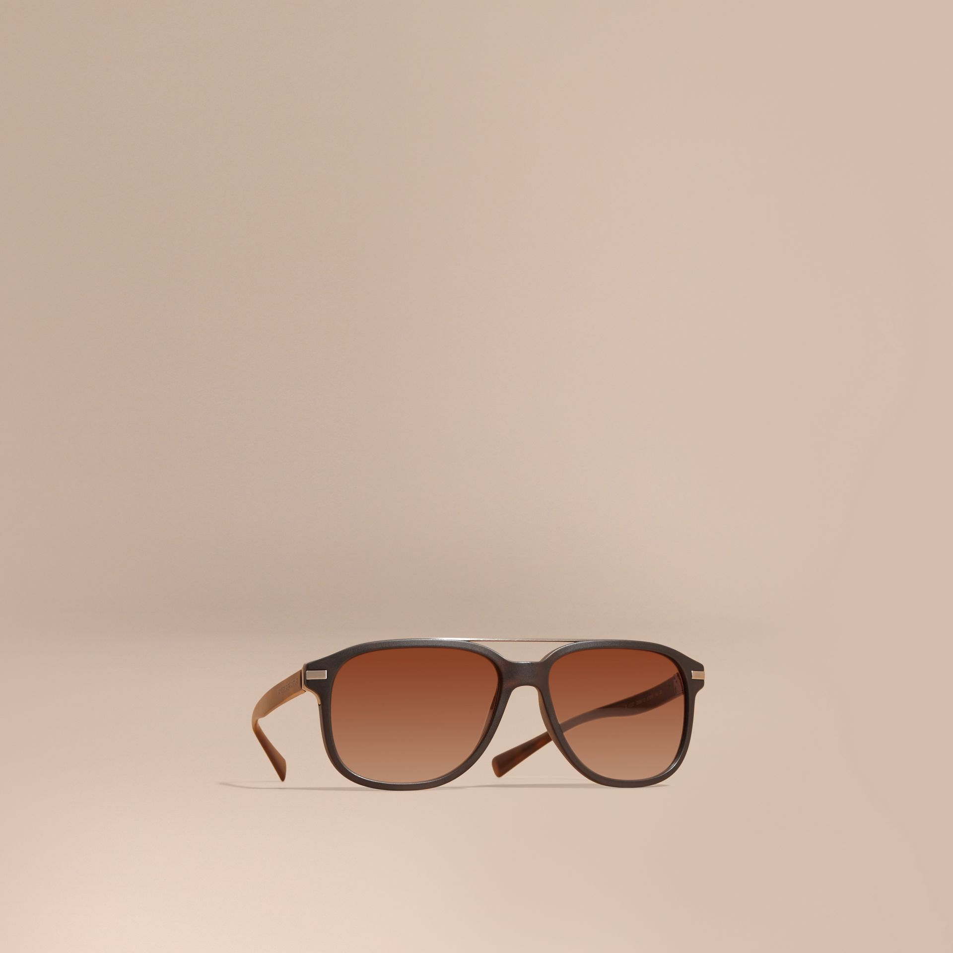 Square Frame Sunglasses in Tortoise Shell - Men | Burberry - gallery image 1