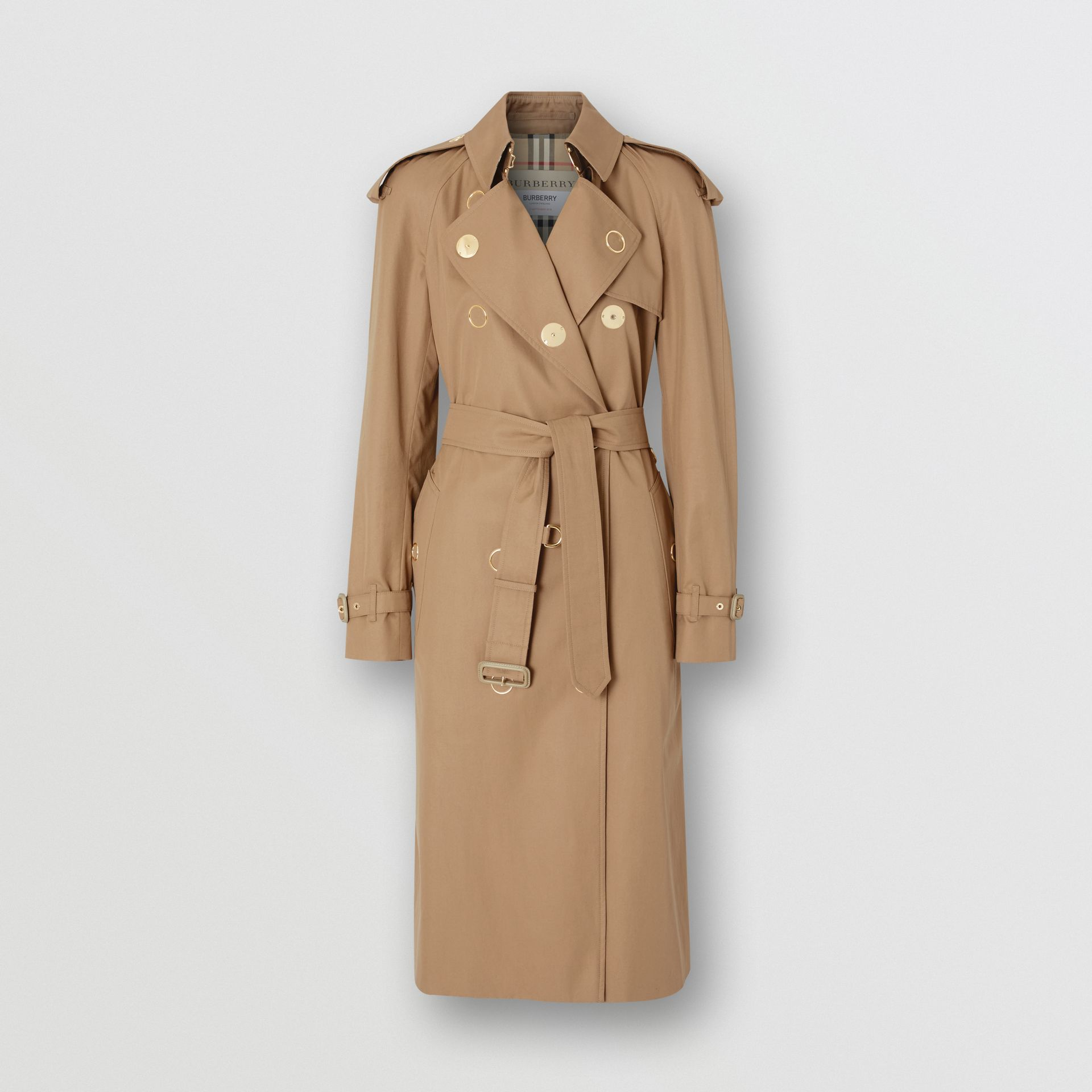 Press-stud Detail Cotton Gabardine Trench Coat in Driftwood - Women | Burberry Singapore - gallery image 3