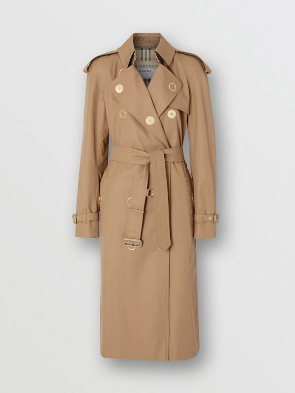 Press-stud Detail Cotton Gabardine Trench Coat in Driftwood - Women | Burberry - cell image 3