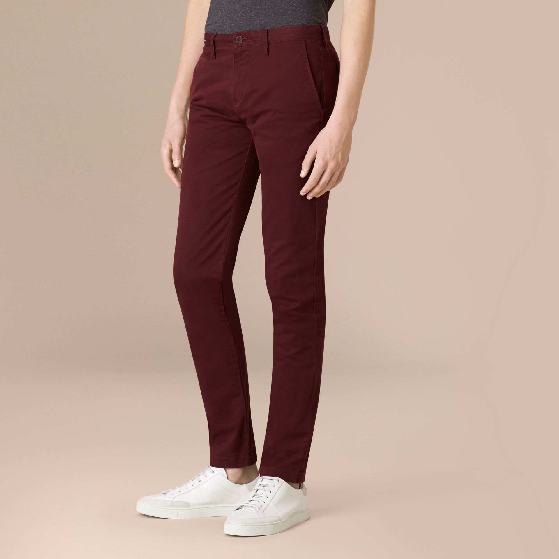 Deep claret Slim Fit Lightweight Stretch-cotton Chinos - gallery image 1