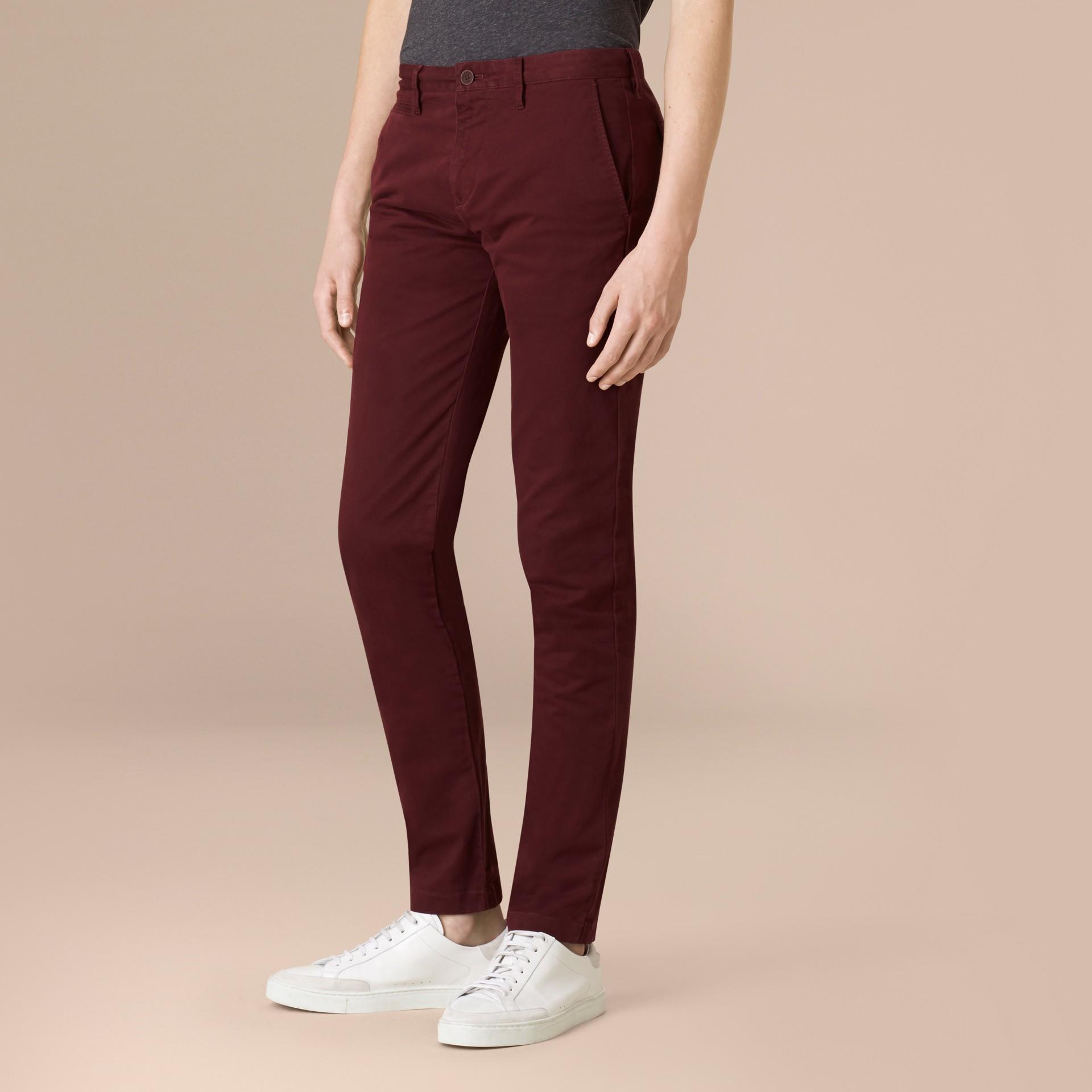 Темный кларет Узкие брюки из эластичного хлопка - изображение 1