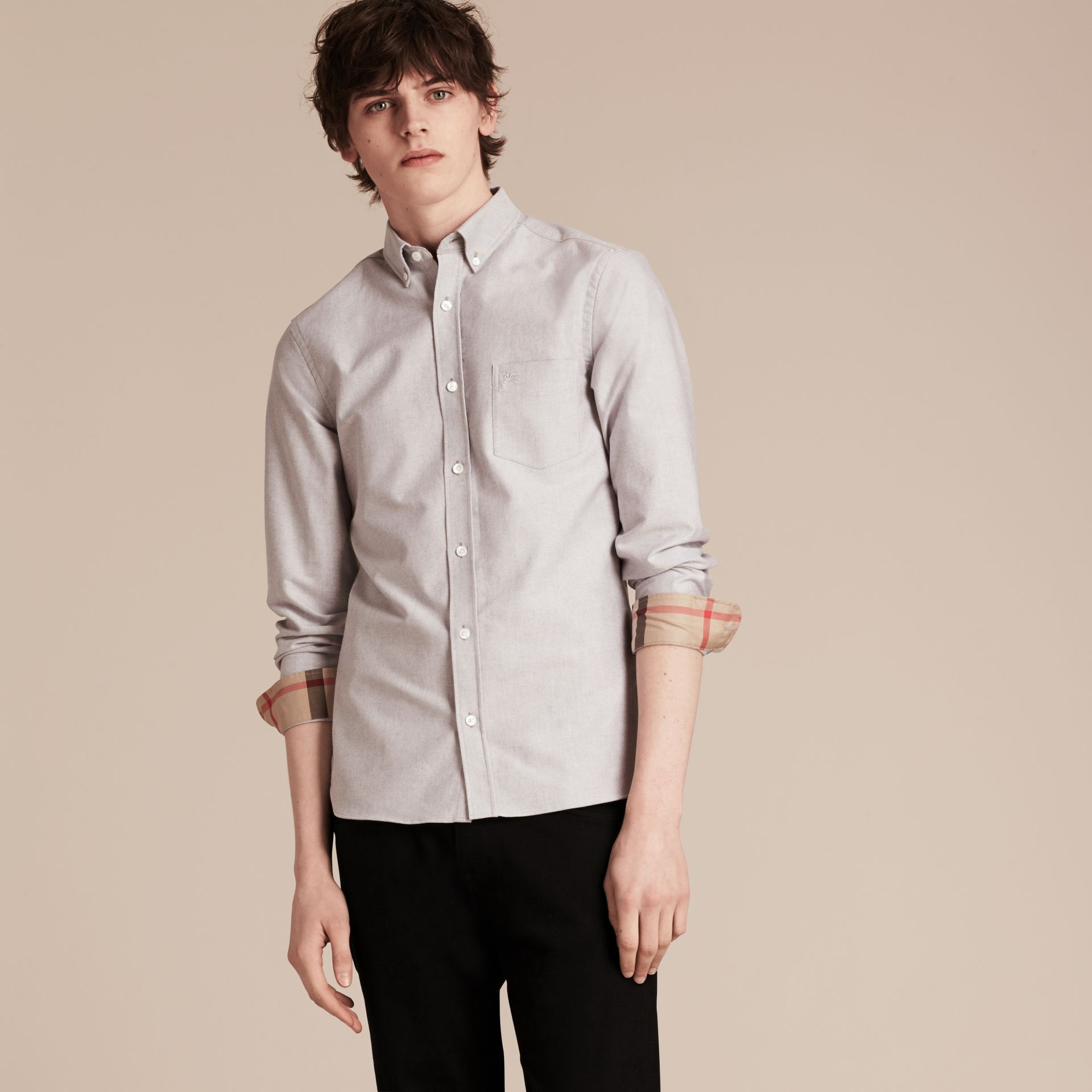 Cotton Oxford Shirt in Charcoal - Men | Burberry United Kingdom - gallery image 4