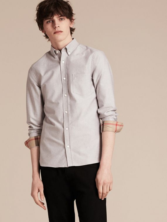 Cotton Oxford Shirt in Charcoal - Men | Burberry United Kingdom - cell image 3