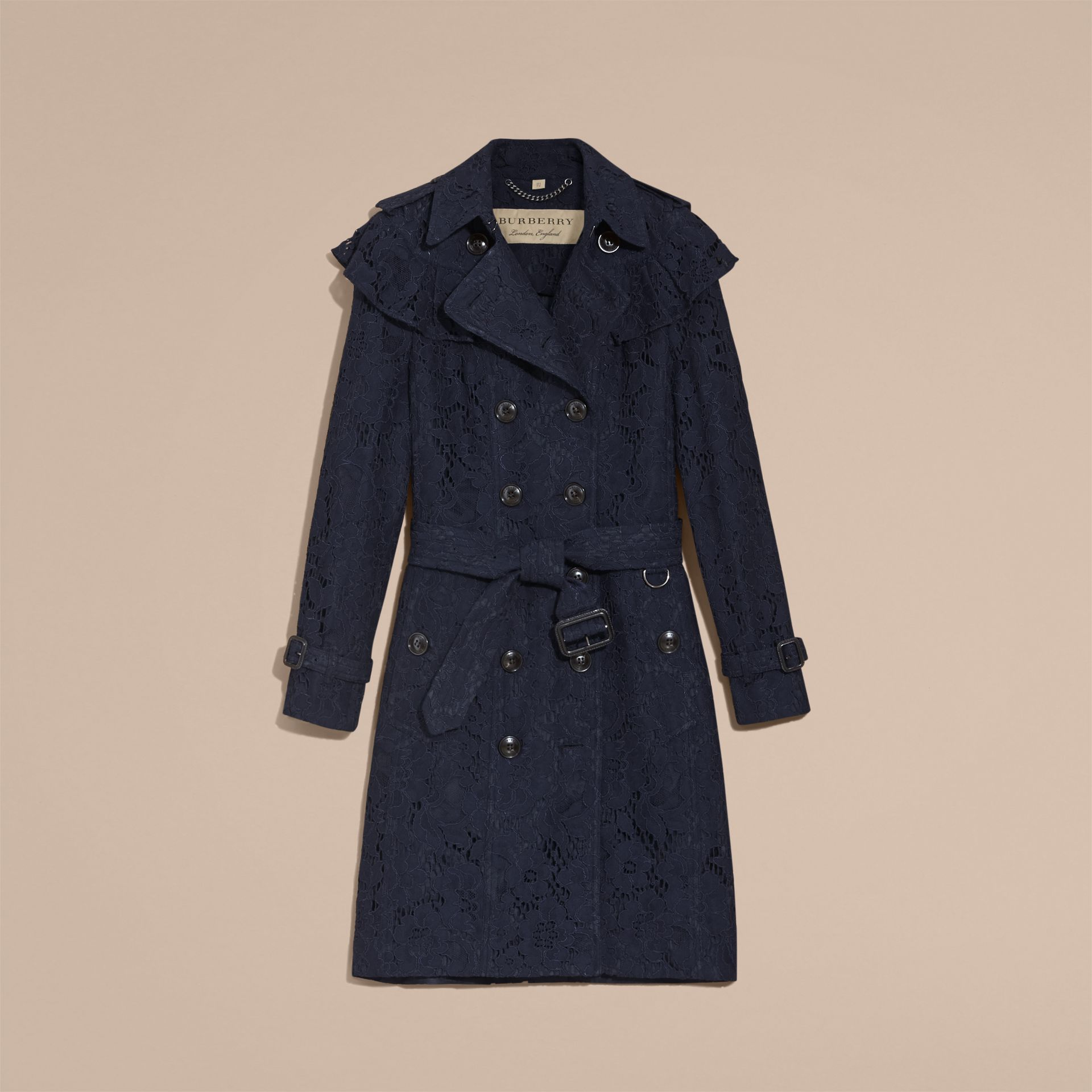 Ruffle Detail Macramé Lace Trench Coat Navy - gallery image 4