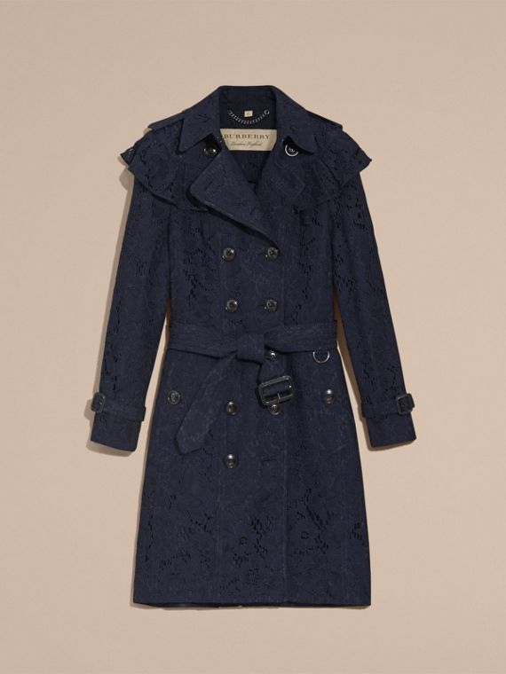 Ruffle Detail Macramé Lace Trench Coat Navy - cell image 3