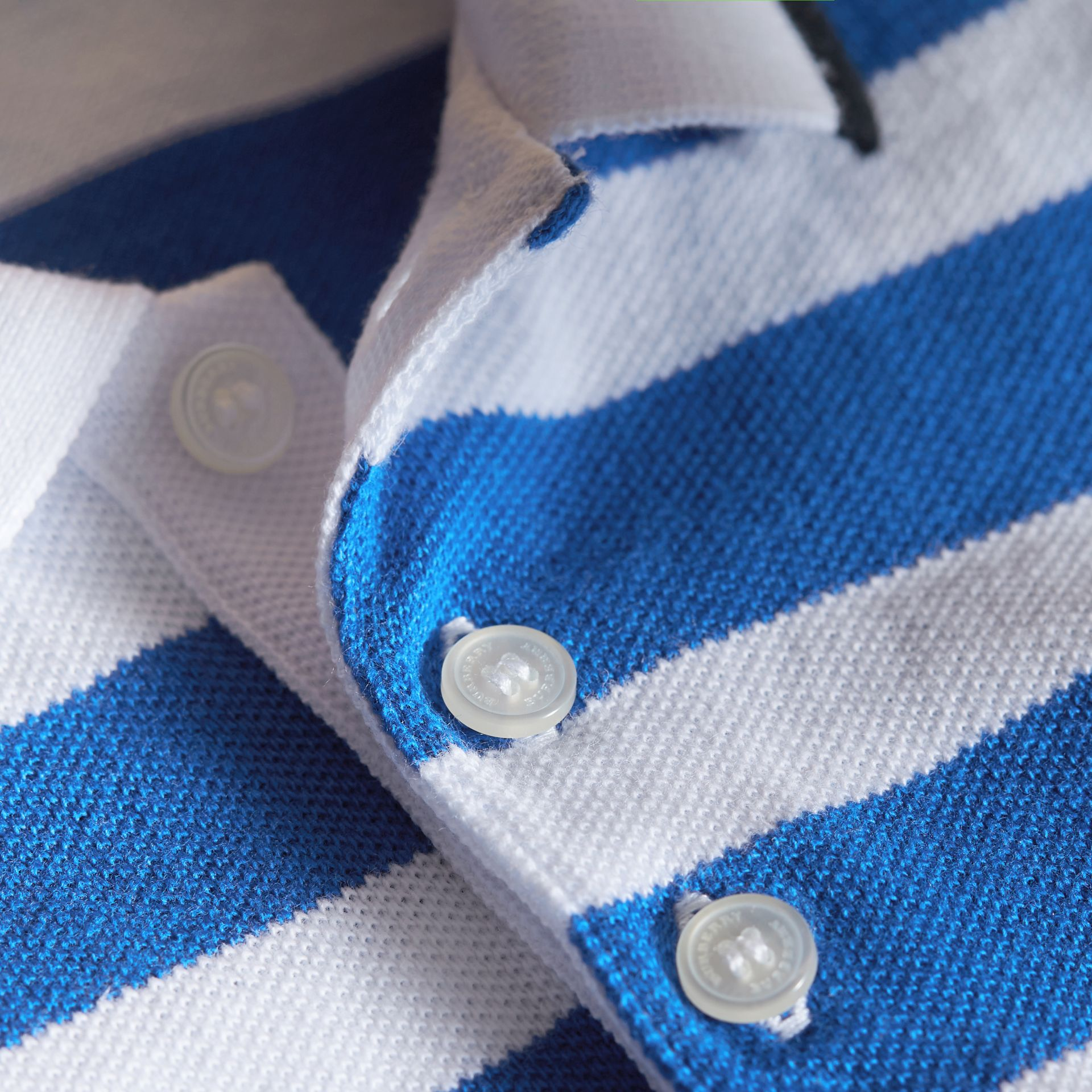 Striped Cotton Polo Shirt in Cerulean Blue | Burberry - gallery image 2