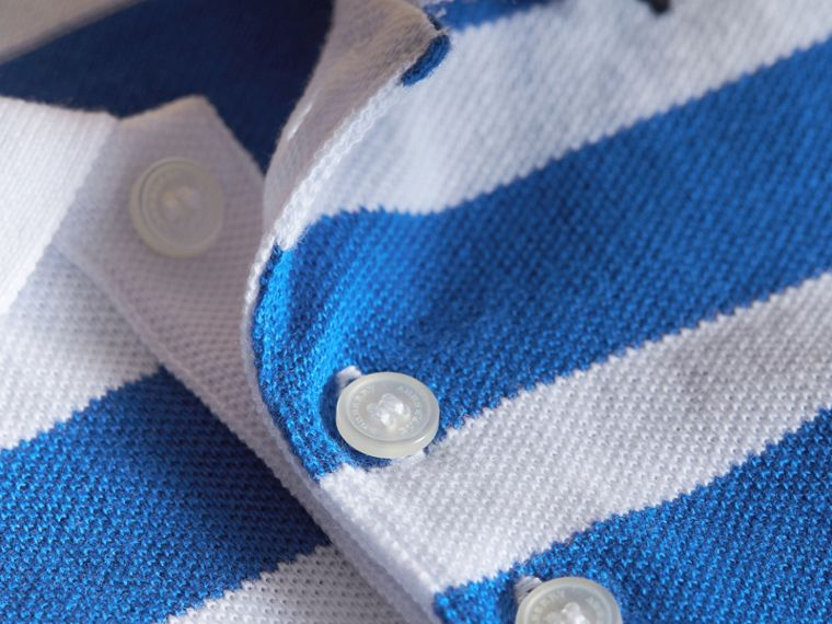 Striped Cotton Polo Shirt in Cerulean Blue | Burberry - cell image 1
