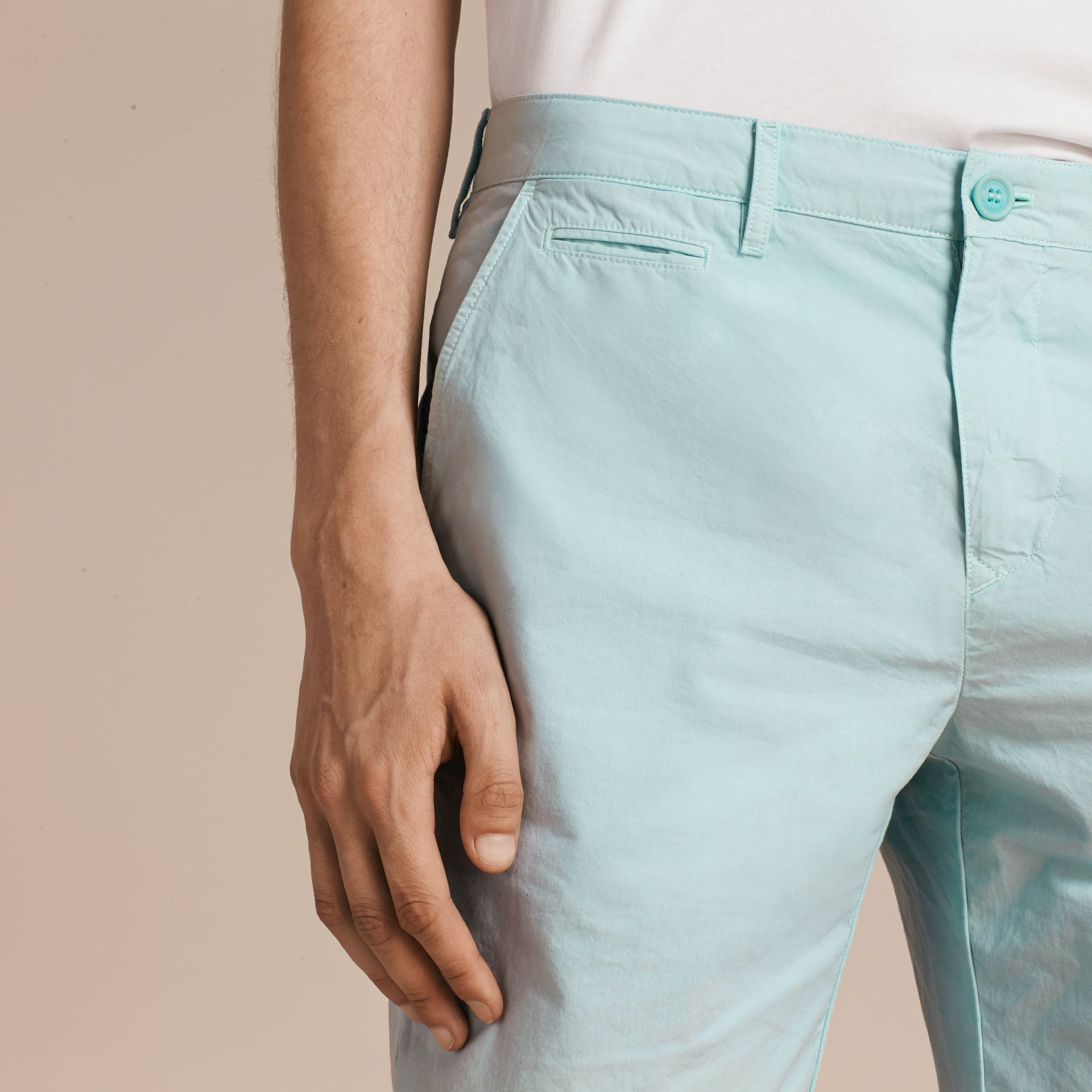 Pearl blue Cotton Poplin Chino Shorts Pearl Blue - gallery image 5