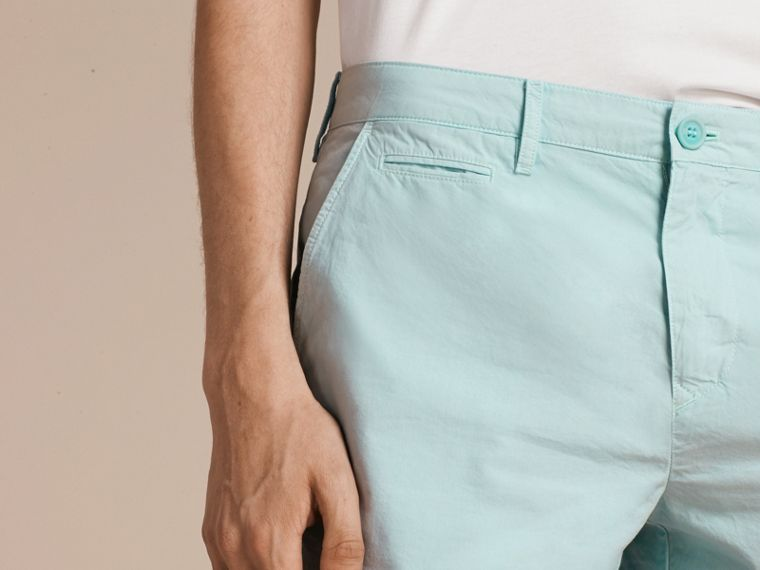 Pearl blue Cotton Poplin Chino Shorts Pearl Blue - cell image 4