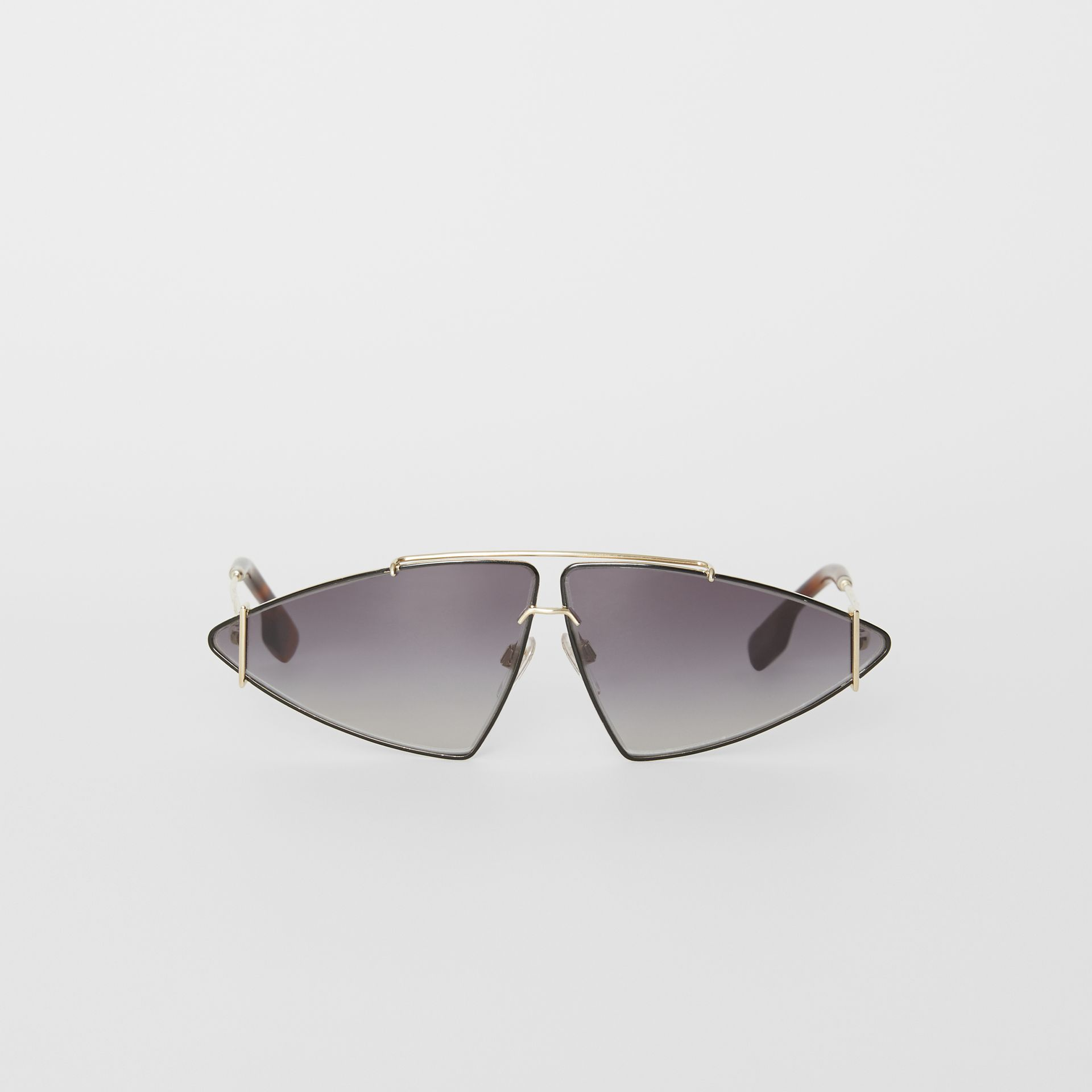 Gold-plated Triangular Frame Sunglasses in Black - Women | Burberry - gallery image 0