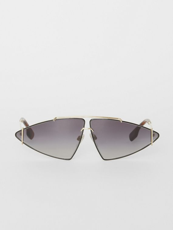 Gold-plated Triangular Frame Sunglasses in Black