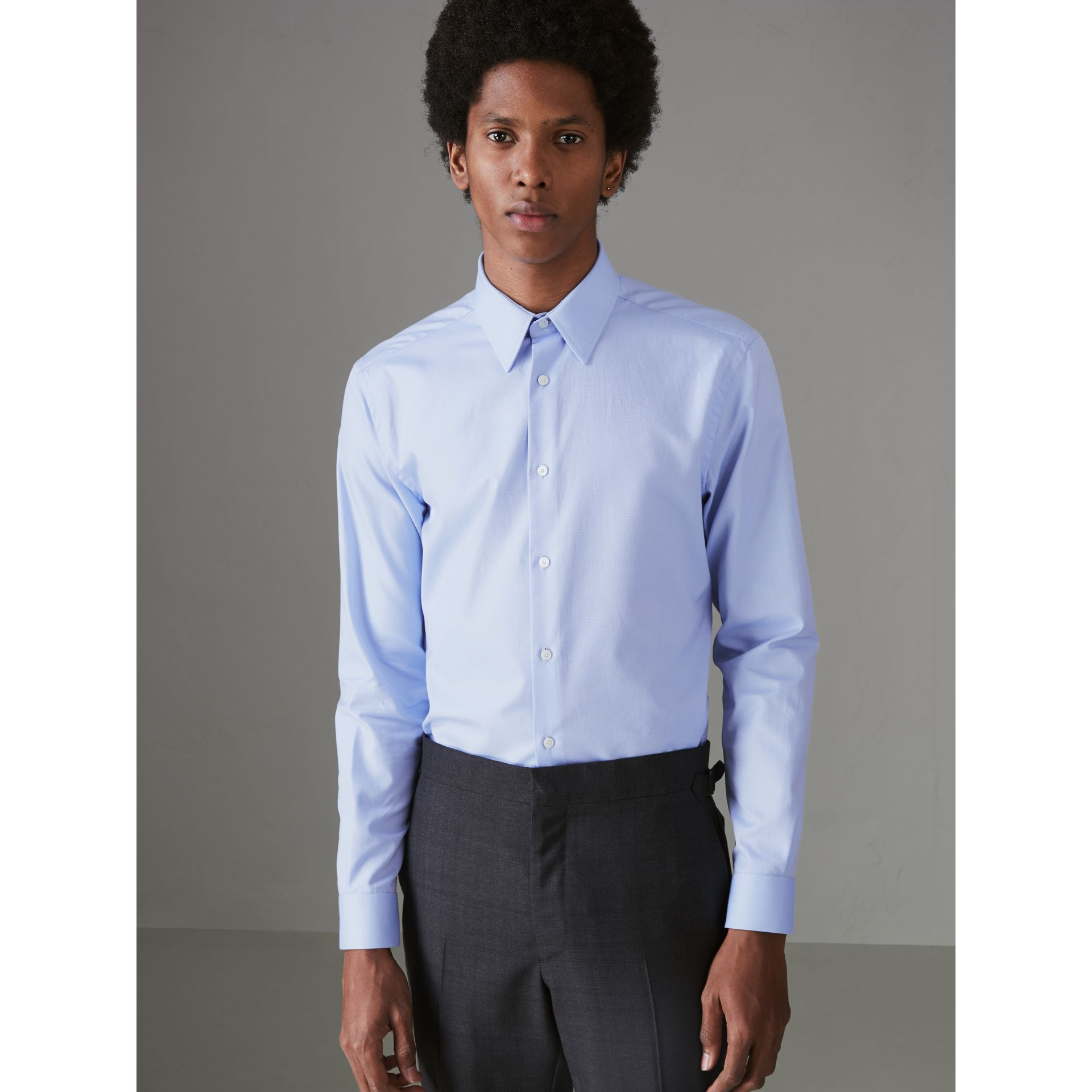 Modern Fit Cotton Shirt in Mid Blue - Men | Burberry - gallery image 4