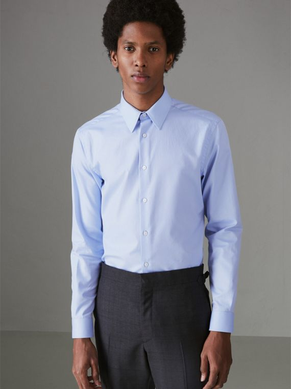 Modern Fit Cotton Shirt in Mid Blue