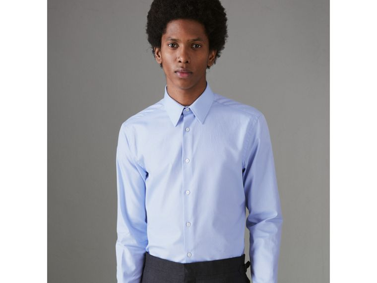 Modern Fit Cotton Shirt in Mid Blue - Men | Burberry - cell image 4