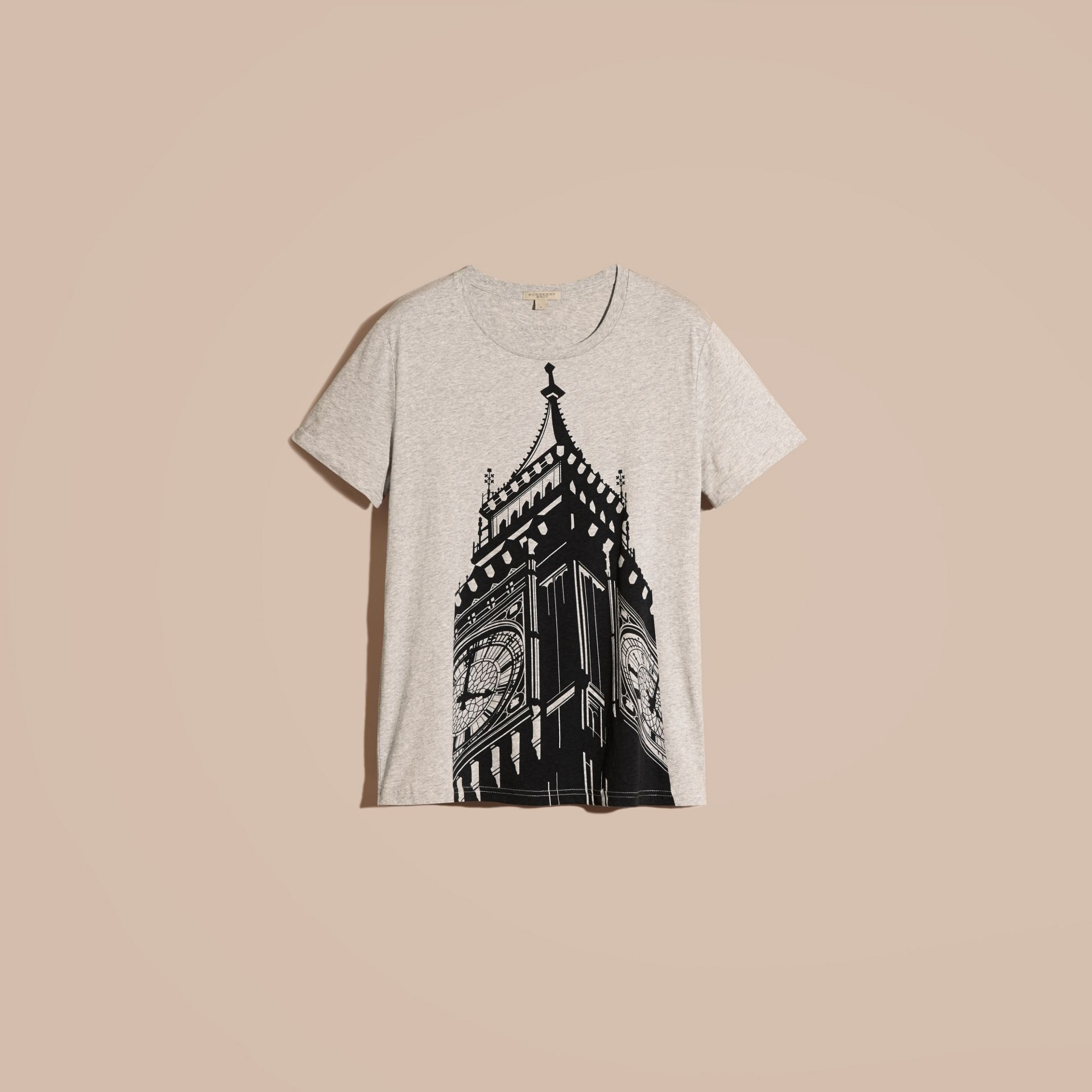 Pale grey melange Big Ben Print Cotton T-shirt - gallery image 4