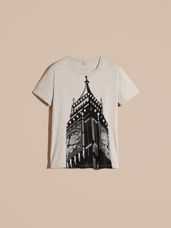 Pale grey melange Big Ben Print Cotton T-shirt - cell image 3