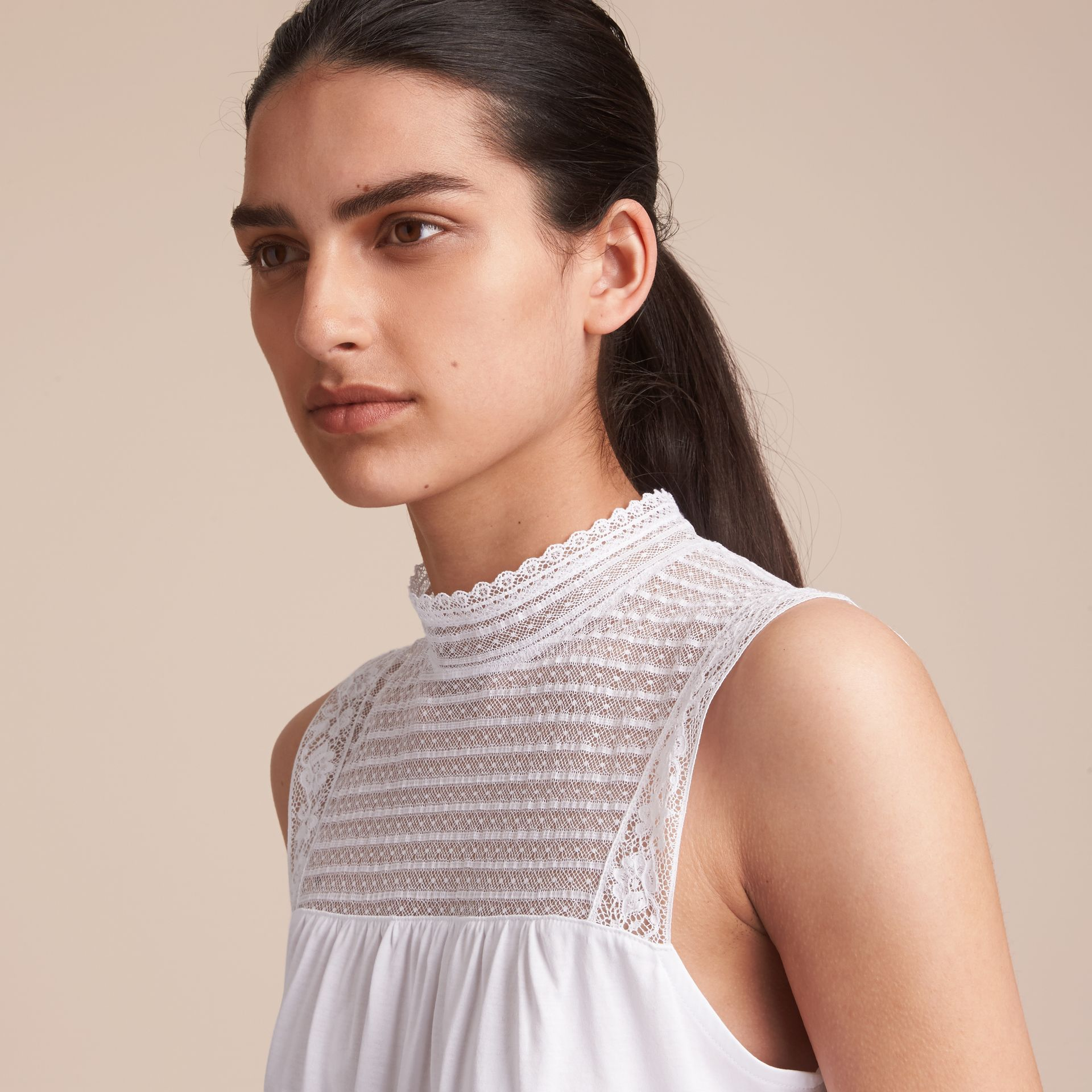 Sleeveless Lace Panel Cotton Top in White - Women | Burberry - gallery image 5