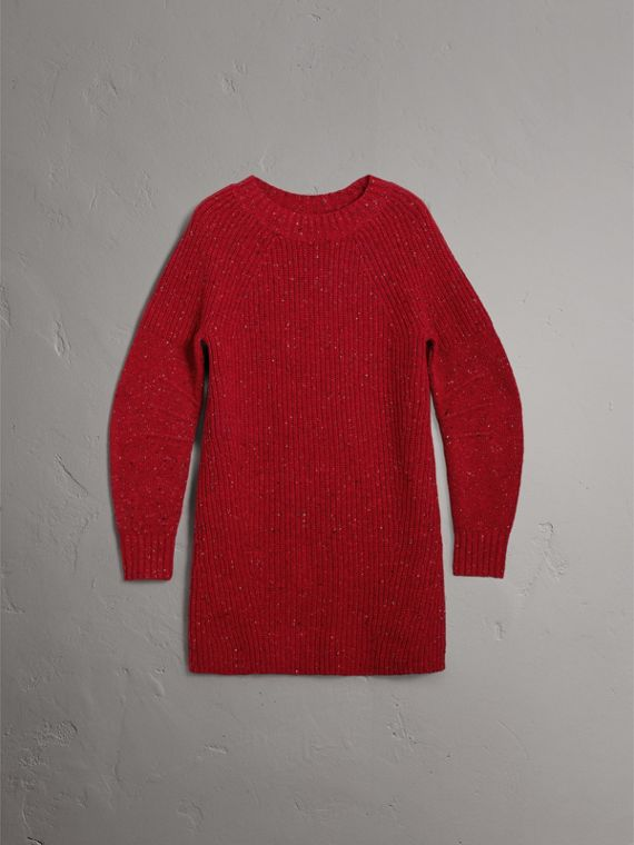 Rib Knit Wool Cashmere Mohair Sweater Dress in Coral Red - Women | Burberry - cell image 2