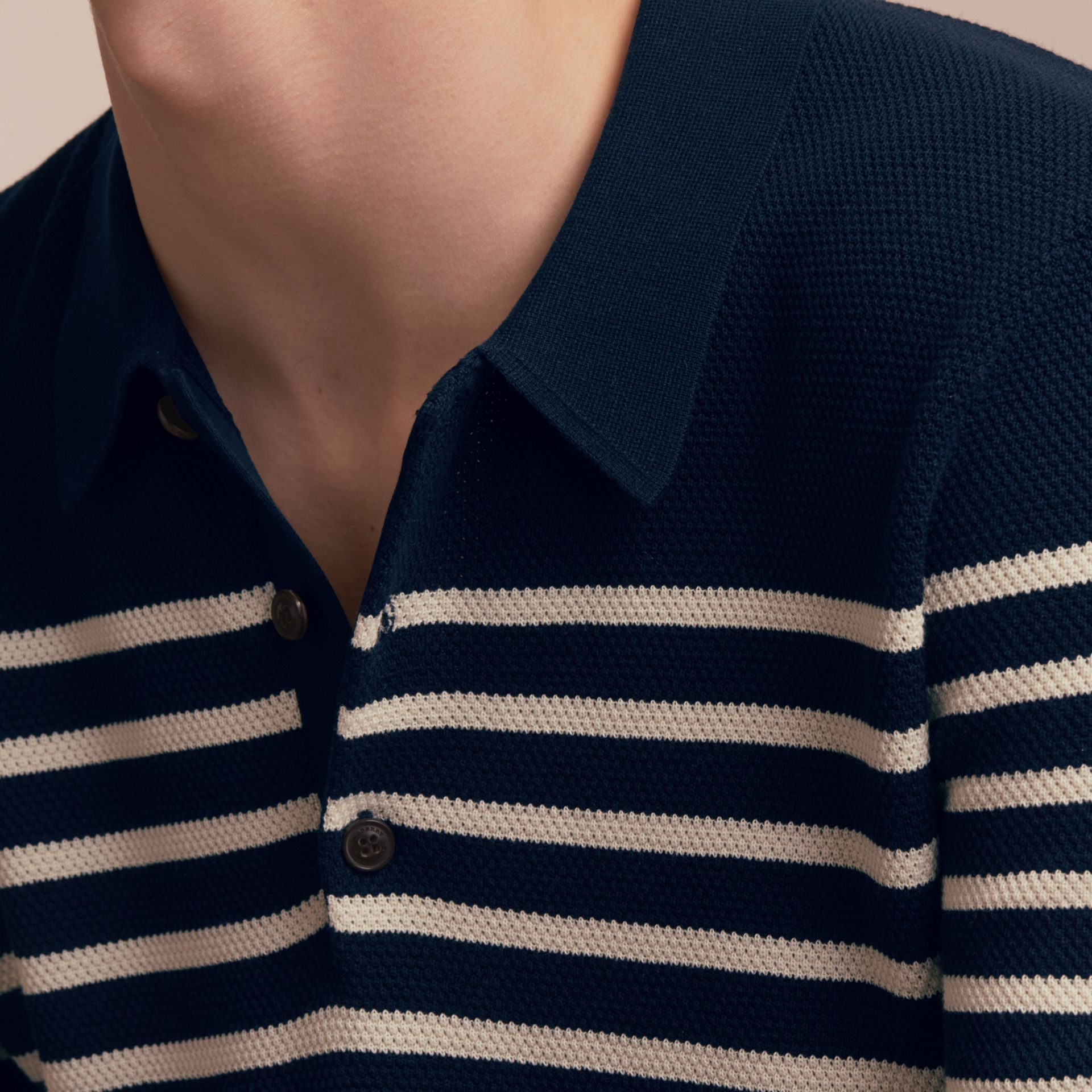 Striped Knitted Cotton Polo Shirt in Navy - Men | Burberry Australia - gallery image 5