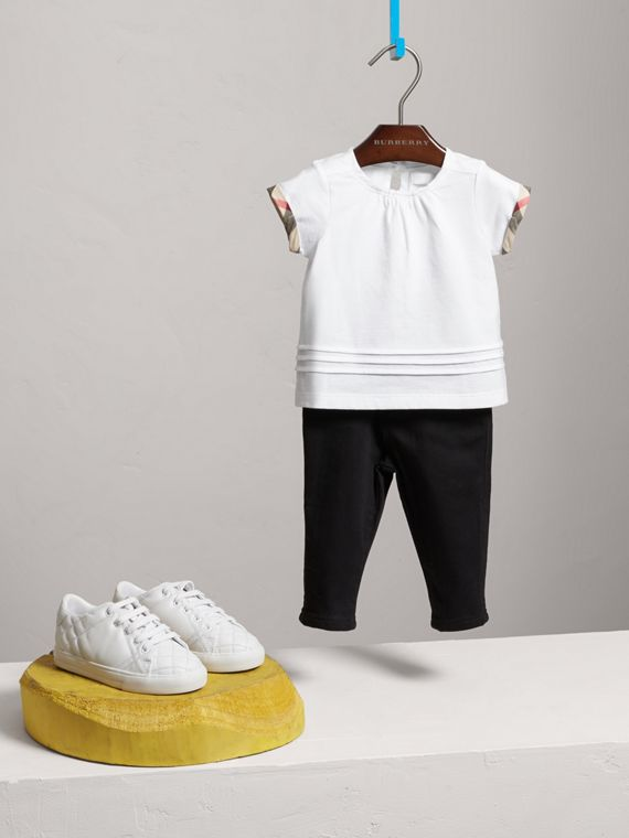 Pleat and Check Detail Cotton T-shirt in White | Burberry - cell image 2