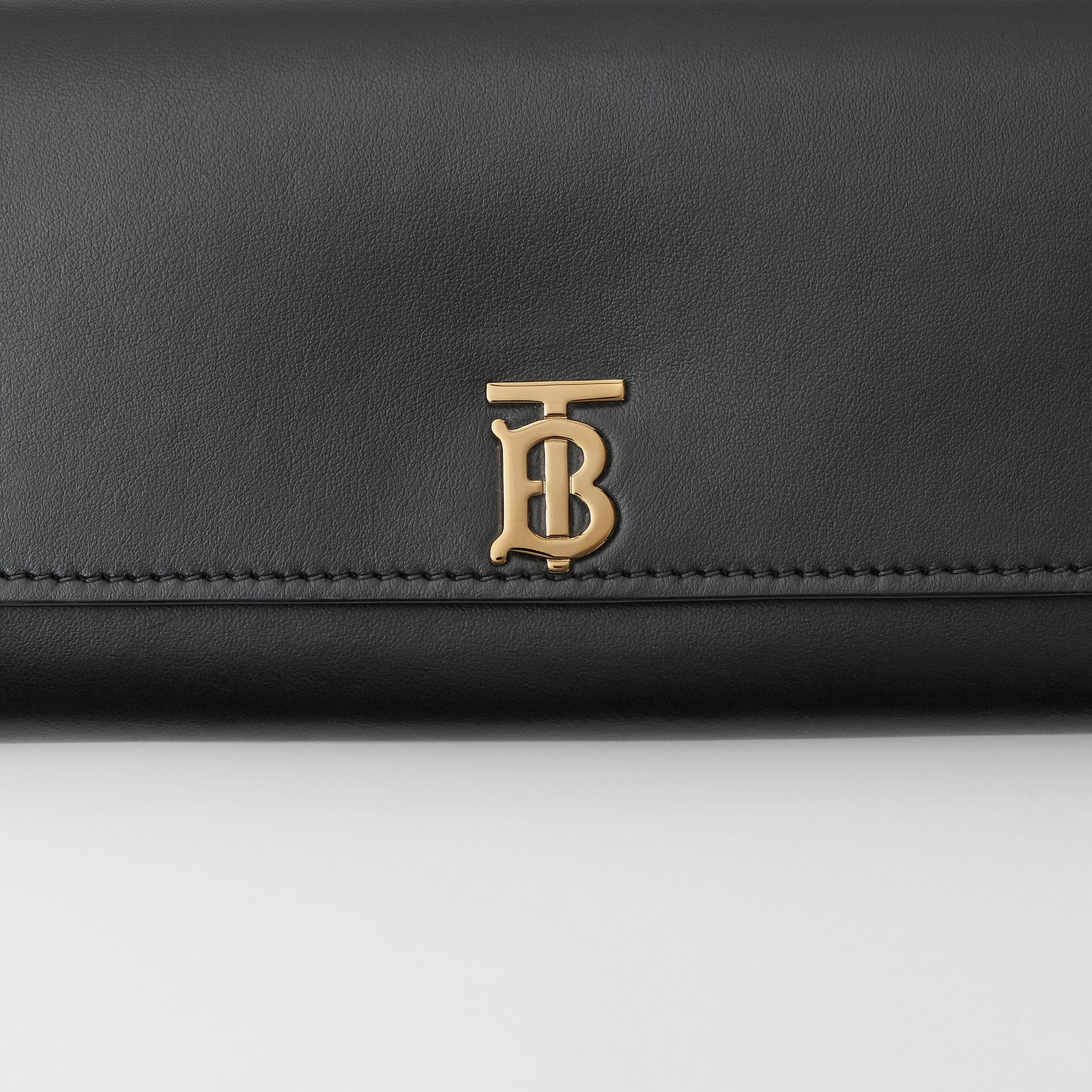 Monogram Motif Leather Continental Wallet in Black - Women | Burberry - gallery image 1