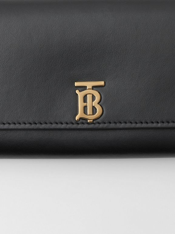 Monogram Motif Leather Continental Wallet in Black - Women | Burberry Australia - cell image 1