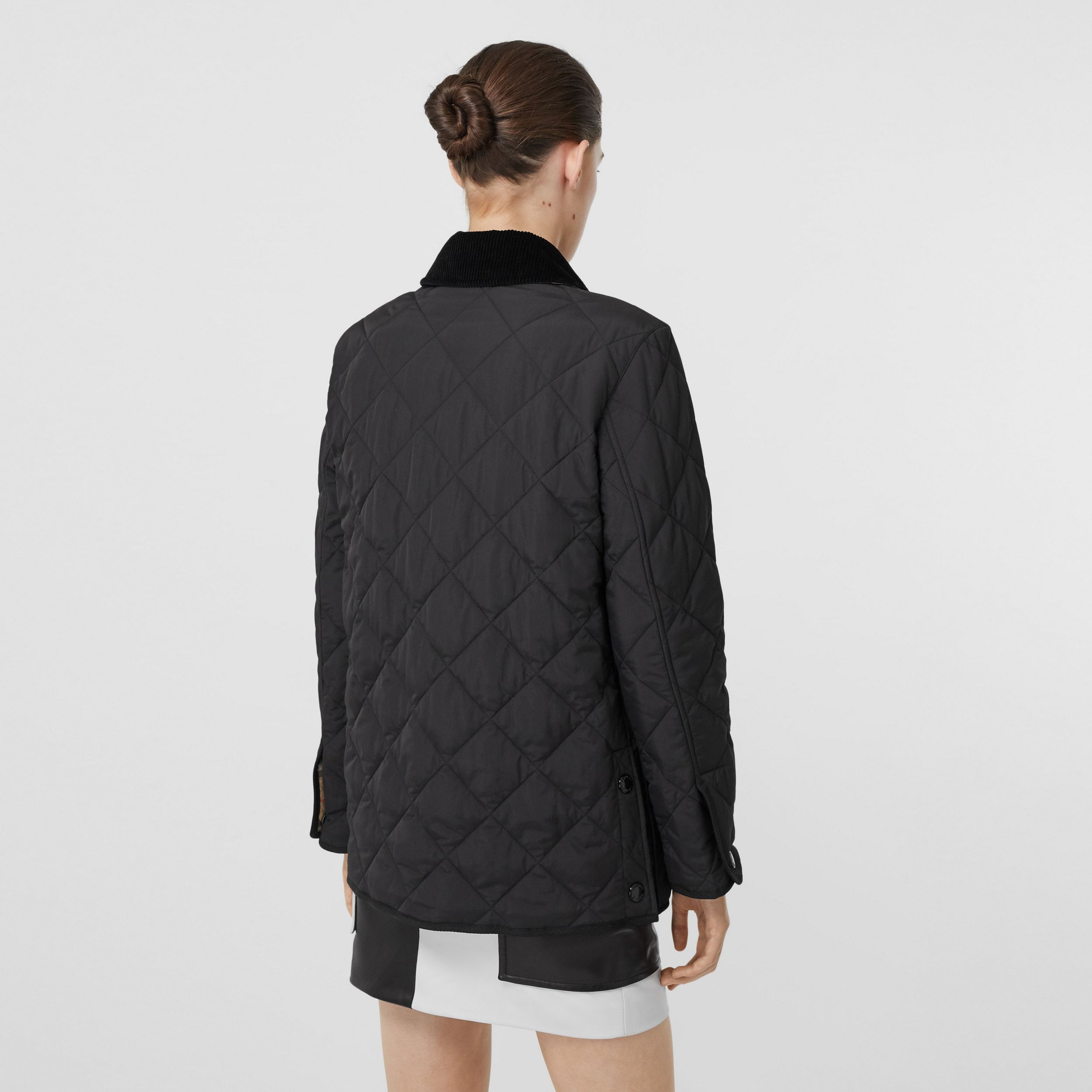 Diamond Quilted Thermoregulated Barn Jacket in Black - Women | Burberry - 3