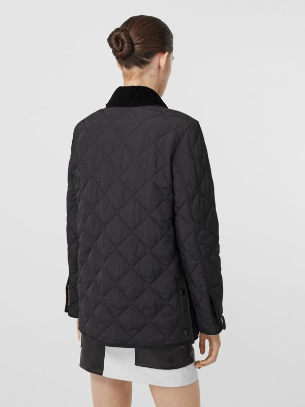 Diamond Quilted Thermoregulated Barn Jacket in Black - Women | Burberry - cell image 2