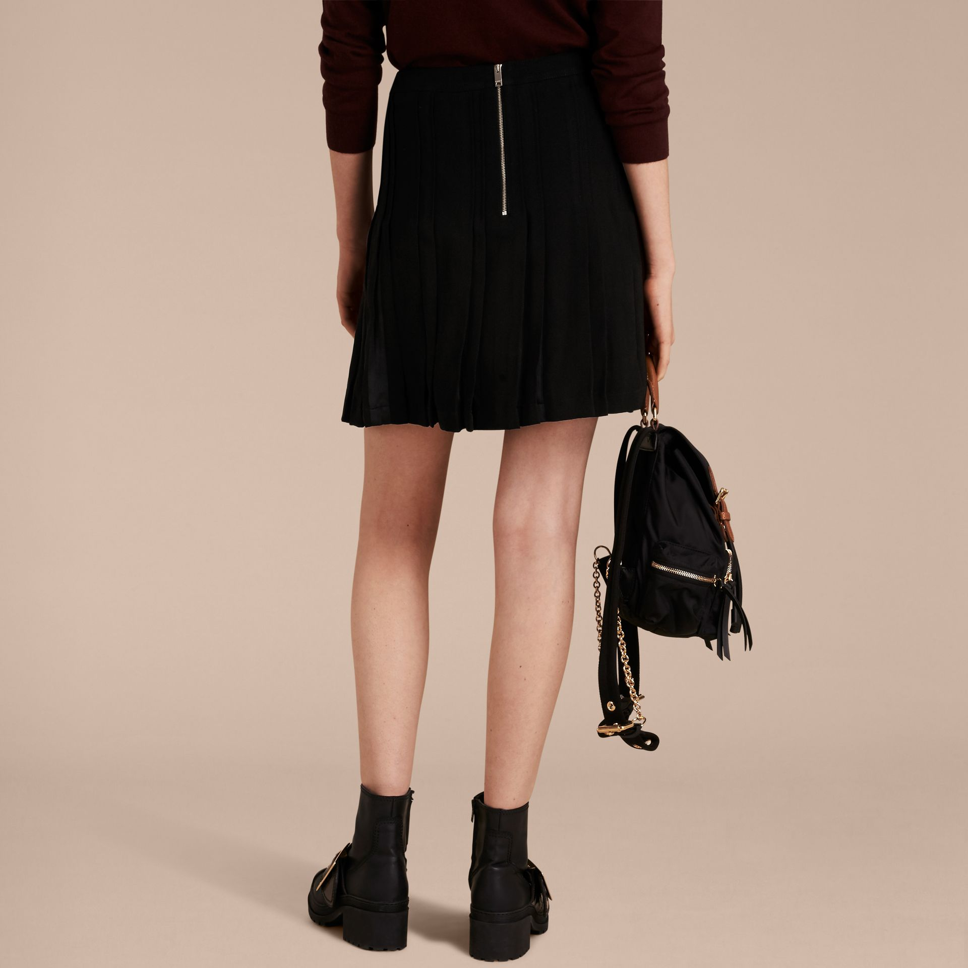 Black Two-tone Satin Pleated Skirt - gallery image 3