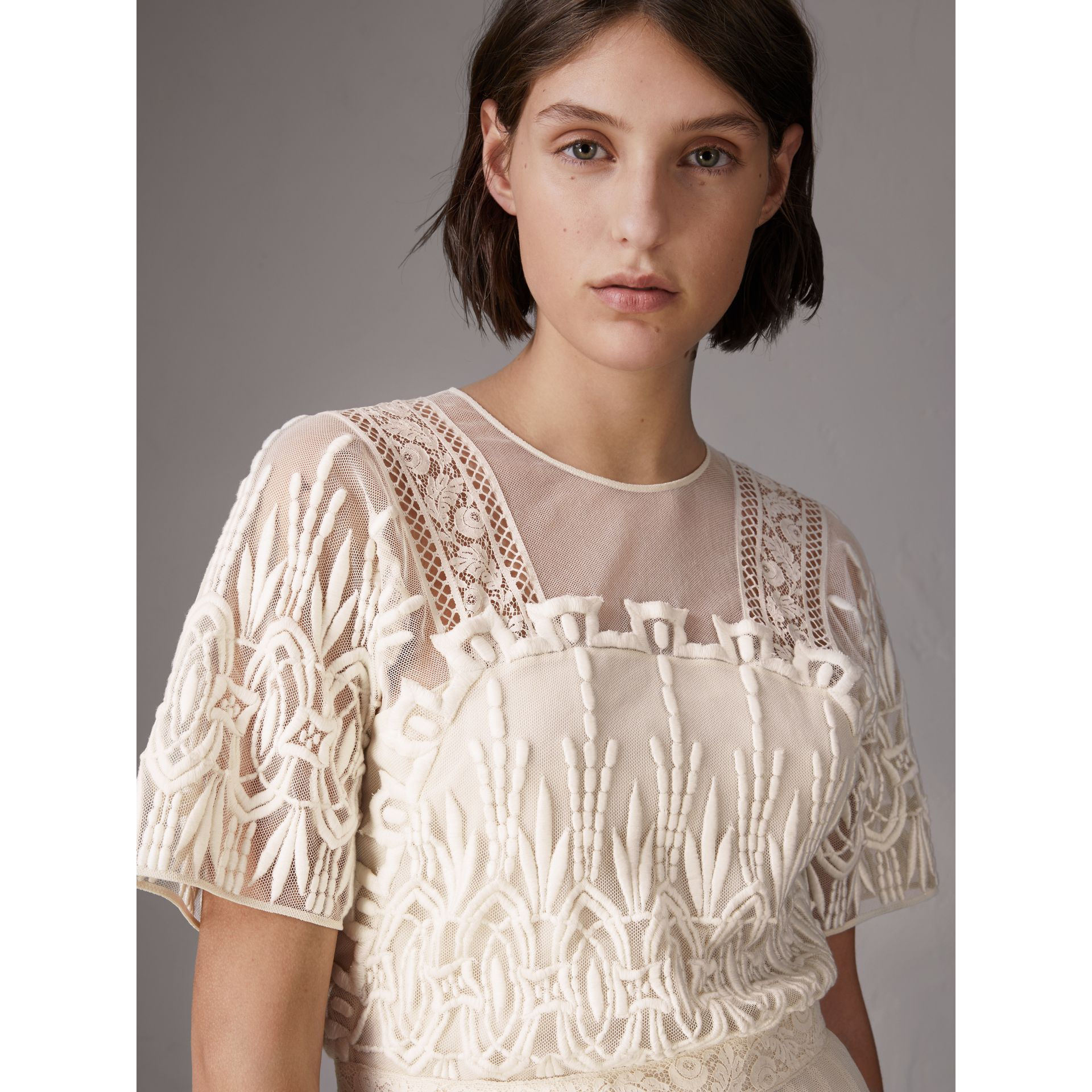 Embroidered Tulle Dress in Natural White - Women | Burberry - gallery image 1