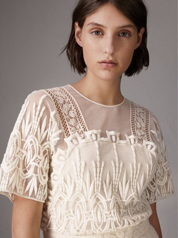 Embroidered Tulle Dress in Natural White - Women | Burberry - cell image 1