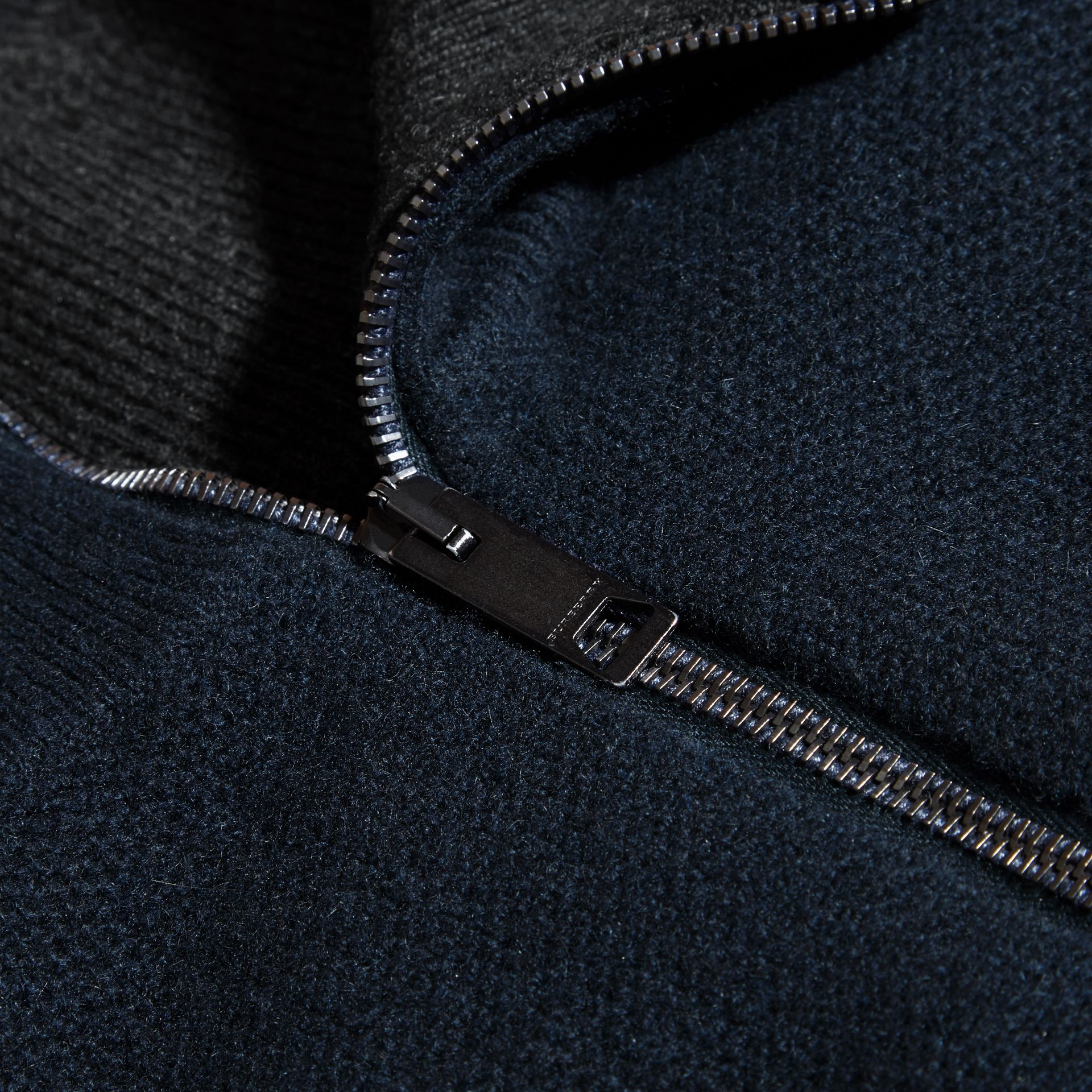 Zip Front Wool Cashmere Cardigan Navy - gallery image 2