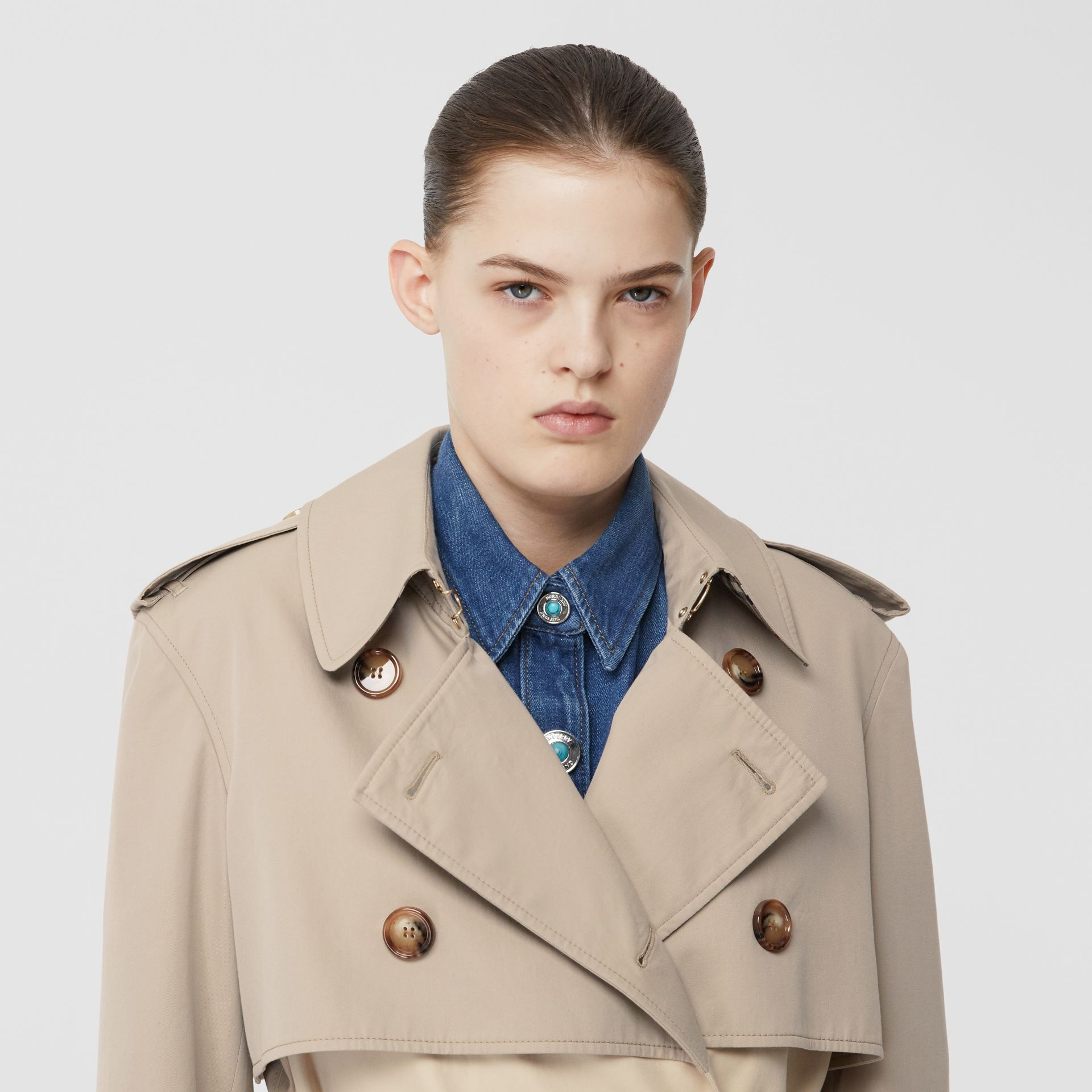 Two-tone Reconstructed Trench Coat in Light Sand - Women | Burberry Hong Kong S.A.R - gallery image 1