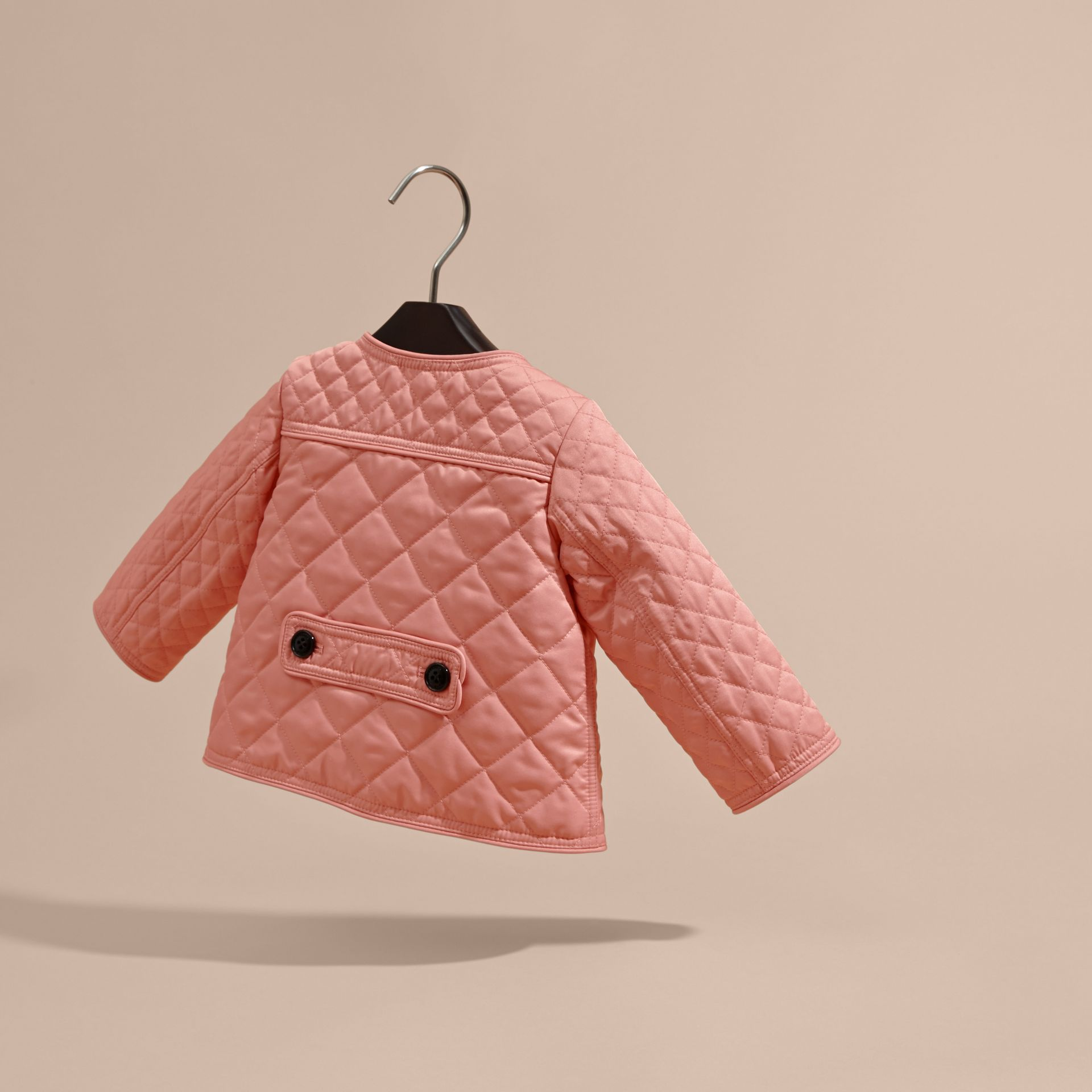 Light copper pink Collarless Diamond Quilted Jacket - gallery image 4